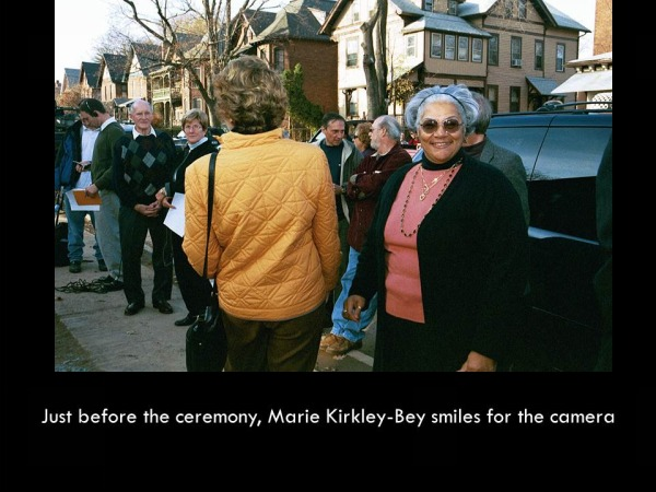 Placing the Commemorative Cornerstone, 21 Ashley Street